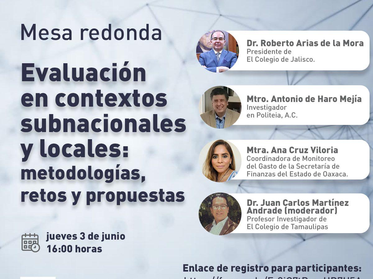 Mesa redonda: Evaluación en contextos subnacionales y locales: metodologías, retos y propuestas